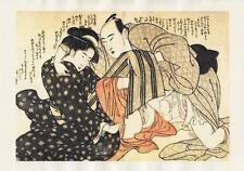 Japanese Reproduction Woodblock Print Shunga Style 10 Erotic  A4 Parchment Paper