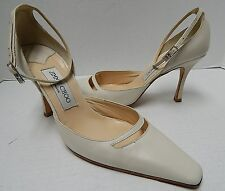 Jimmy Choo 37.5 7M Ivory Leather Ankle Strap Pump Heels Italy