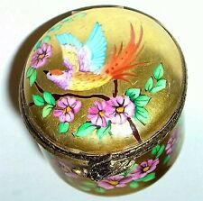 LIMOGES BOX - VINTAGE ROUND GOLD FLORAL - PINK FLOWERS & BIRD - LE 273-300