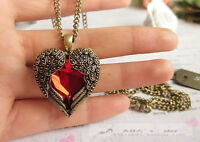 Fashion Retro Red Crystal Wing Heart Chain Necklace Pendants B958