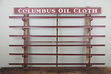 VINTAGE COLUMBUS OIL CLOTH INDUSTRIAL METAL RACK SHELF BRACKETS SIGN AUTOMOTIVE