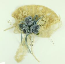 Vintage Blue Roses Lace Fan Christmas Ornament Holiday Tree Decoration