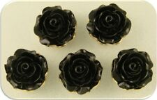 2 Hole Beads Roses Flowers BLACK Resin with Gold Metal Settings ~ Sliders QTY 5