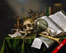 STILL LIFE OF VANITIES, BOOKS & SKULL BONES, TIME PAINTING ART REAL CANVAS PRINT