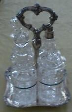 Vintage Crystal Condiment Set - With Silver Plate Stand and Silver Storage Bag