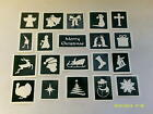 10 x Christmas theme stencils for window decoration for snow spraying 10 x 10 cm
