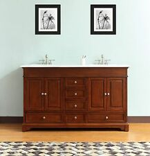 60-in Free-Standing Double Sink Bathroom Vanity Solid Wood Cabinet Carrara Top