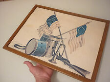Vintage Print Picture Patriotic War Drum Flag Trumpet Rifle Marching Band Framed