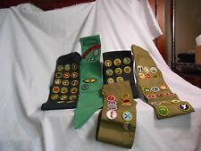 VINTAGE (4) BOY SCOUT SASHES (1) GIRL SCOUT 52 MERIT BADGE + OTHER SCOUT PATCHES