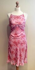 ARMANI DRESS PINK FLORAL EVENING DRESS SIZE 44 ITL UK 12 SILK MADE IN ITALY