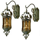 Set of 2 Fleur De Lis Hanging Metal Scrollwork Wall Lantern Candle Holders NEW