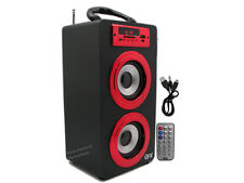 Portable Rechargeable Tower Bluetooth Boombox Speaker + USB/SD/AUX/MP3/FM (RED)