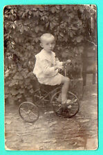 RUSSIA LATVIA Boy riding on a tricycle VINTAGE PHOTO POSTCARD 558