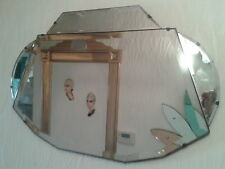 RARE GEOMETRIC VINTAGE ART DECO BEVELLED EDGE FRAMELESS MIRROR 1930s