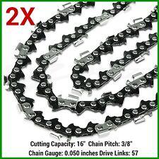 """2XCHAINSAW CHAINS 3/8lp .050"""" 57DL FOR 45cc ROK 400mm 16"""" BAR - SAW CHAIN"""