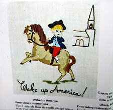 1975 Vintage CREWEL Embroidery Kit WAKE UP AMERICA! & LIBERTY BELLE Patriotic