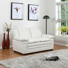 Classic Bonded Leather Love Seat in White