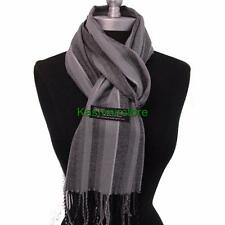 New 100% Cashmere Scarf Gray check Plaid Wool Soft Unisex #N106