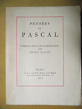 PENSÉES DE PASCAL INTRODUCTION PAR HENRI MASSIS 1929 EX. NUM. VÉLIN DU MARAIS