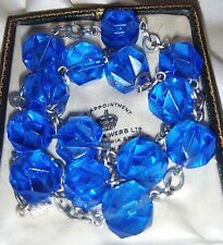 VINTAGE JEWELLERY ART DECO SAPPHIRE CUT CRYSTAL FACETED BEAD WIRED NECKLACE