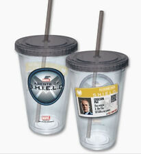 Agents of S.H.I.E.L.D. Logo & Coulson Badge 16 oz Acrylic Travel Cup with Straw