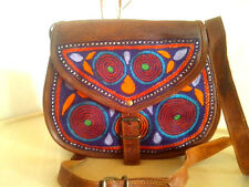 vintage look handmade leather bag embroidered crossbody bag women purse gypsy