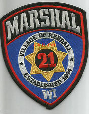 """Village of Kendall Marshal, WI  (4"""" x 5"""" size)  shoulder police patch (fire)"""