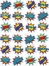 Superhero Batman Pop Art Speech  Bubble Edible Rice Paper Cupcake Toppers