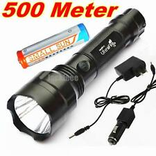 500 METER 1500LM TACTICAL CREE Q5 LED FLASHLIGHT TORCH 2 Charger + Battery D8USA