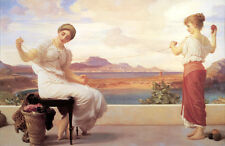 Huge Oil painting young beautiful women winding the wool in nice landscape