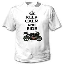 APRILIA RS SPORT PRO INSPIRED KEEP CALM - NEW WHITE COTTON TSHIRT