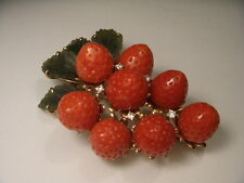 Rare 14K Gold Designer Carved Undyed Red Coral Strawberry Diamond Brooch Pendant