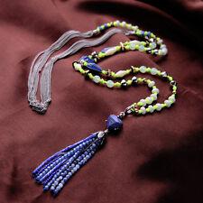 Collier Long Sautoir Pompon Bleu Marine Vert Argenté Blanc Perle Original MYL 1