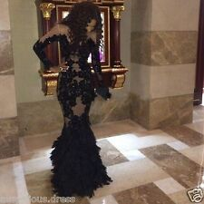 Sexy Black Applique Long Party Formal Pageant Dress Mermaid Evening Prom Dresses
