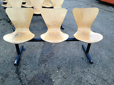 BENTWOOD WAITING ROOM CHAIRS - ROW OF 3 CHAIRS ON STEEL FRAME
