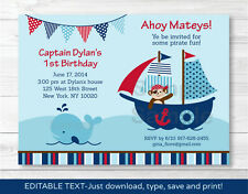 Pirate Monkey Nautical Whale Printable Birthday Invitation Editable PDF