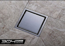 Square Stainless Steel Tile Insert Floor Waste Grate Shower Drain 110mmx110mm