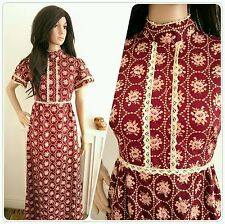 Vintage 60s 70s Burgundy Floral Rose Cotton Crochet Boho Folk Maxi Dress 8 36