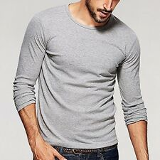 Solid Mens High elasticity T-Shirt Long Sleeve Crewneck T-shirt  XXL light gray