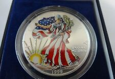 1999 Painted American Eagle .999 Fine Silver Dollar 1 Troy Ounce With Box & COA