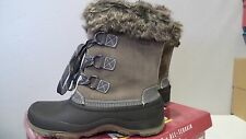 NEW KHOMBU WATERPROOF SLOPE WINTER BOOTS GREY LEATHER WOMEN'S SIZE 6 ALL TERRAIN