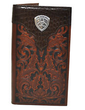 Ariat Shield Logo Concho Croc Print Brown Tooled Leather Rodeo Western Wallet