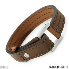 Terrace Brown Leather and Stainless Steel Bracelet From DYRBERG/KERN, 8 Inch