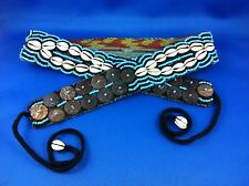 Belt Girls Fully Beaded Aqua Brown White Cowrie Shells Surf Kuchi Party Jeans