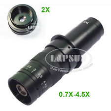 180X- 360X Zoom C-mount 2X Objective Barlow Lens For Industry Microscope Camera