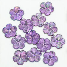 New 50pcs Resin Plum Flower 15mm FlatBack For DIY Craft Purple Sew on 2 Hole #4