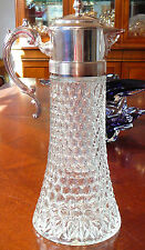 VINTAGE CUT GLASS & SILVERPLATE WINE CARAFE CLARET JUG WITH ICE POCKET