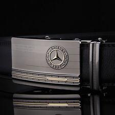 """Benz 115CM(45"""") Mens Leather Belts Automatic Belt Buckle Dress Waist Black"""