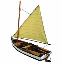 Lateen Rigged Wooden Sailing Fishing Model Rowing Boat 20cm