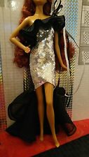 Stephen Burrows Nisha Barbie Doll gold label Black & Silver Dress